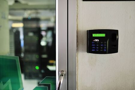 cardkey: An Fingerprint machine server safety . Stock Photo