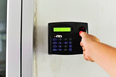 medical scanner: An Fingerprint machine server safety . Stock Photo