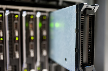server farm: An Network servers in data room . Stock Photo