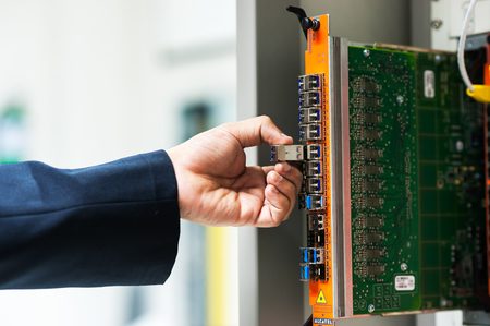 network switch: Fix network switch in data center room . Stock Photo