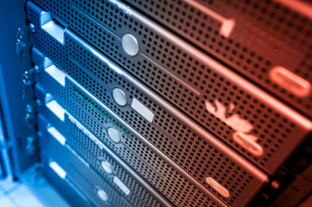 business network: An Network servers in data room . Stock Photo