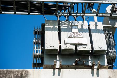 An electrical transformer in data room . Standard-Bild