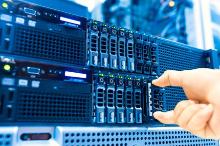 computer services: Network servers in data room Domestic Room . Stock Photo