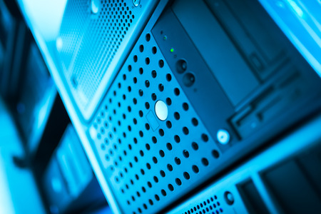 server farm: Network servers in data room Domestic Room . Stock Photo