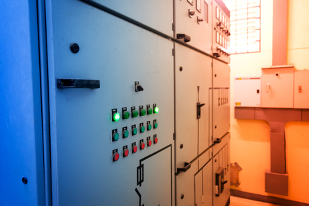 dials: An Dials meter Power Station in electric room . Stock Photo