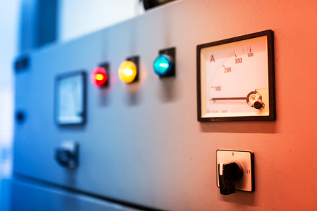 fuse: Electric outdoor fuse box in soft light . Stock Photo