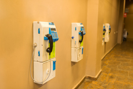 payphone: An Public telephone on old place . Stock Photo