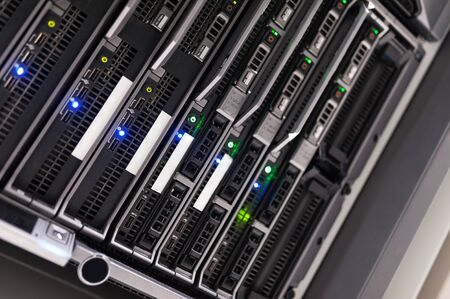 Network servers in data room Domestic Room . Stock Photo