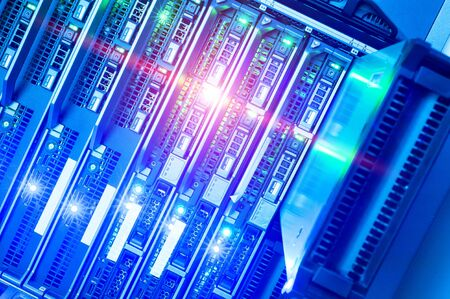 network server: Network servers in data room Domestic Room . Stock Photo