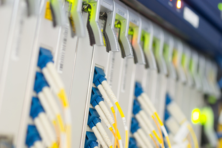 fiber optic with servers in a technology data center . Stock Photo