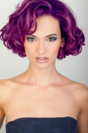 colored dye: beautiful young woman with red hair
