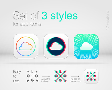 the style: Set of 3 graphic styles for app icons. High quality design elements