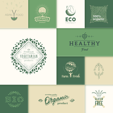 Set of labels and design elements for healthy products. Illustration
