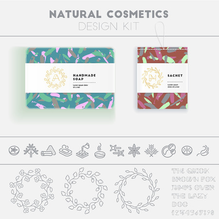cosmetics collection: Natural cosmetics design kit with seamless pattern and icon templates.