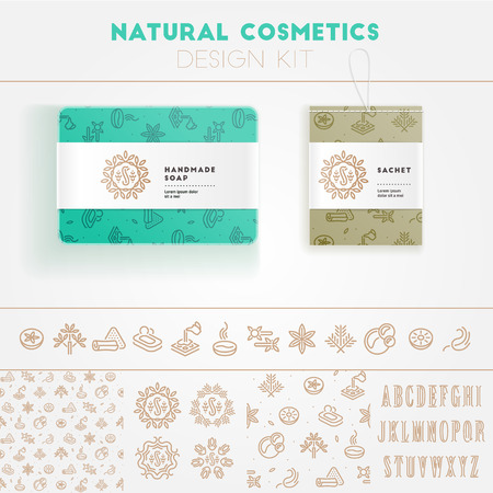 Natural cosmetics design kit with seamless pattern and icon templates.