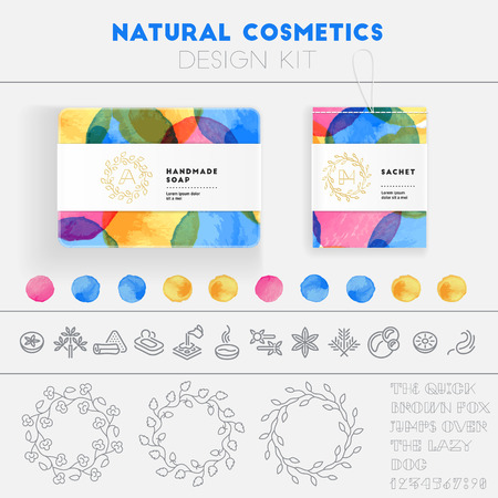 Natural cosmetics design kit with watercolor pattern and icon templates. Illustration