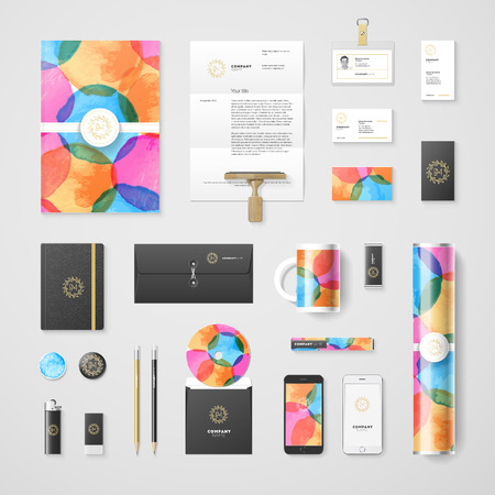 yellow design element: Trendy watercolor corporate identity template. High quality design element. Illustration