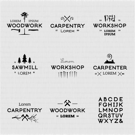 carpintero: De moda icono de la artesanía en madera de la vendimia fijado. Elementos de diseño de alta calidad. Vectores