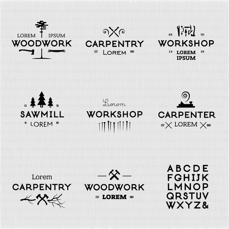 carpentry: Trendy vintage woodwork icon set. High quality design elements.
