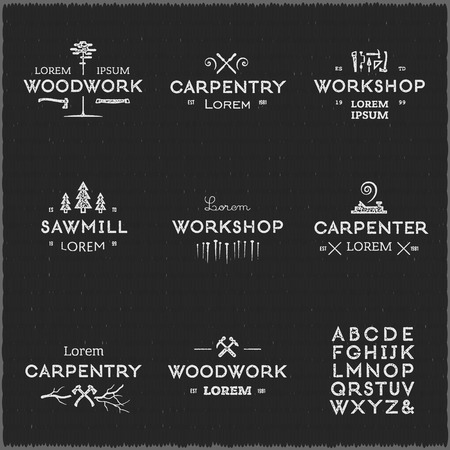 carpentry: Trendy vintage woodwork icon set. Letterpress look. High quality design elements. Illustration