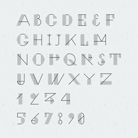 bauhaus: Newspaper style trendy geometric font. High quality design element. Illustration