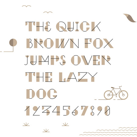 Vintage trendy geometric font.