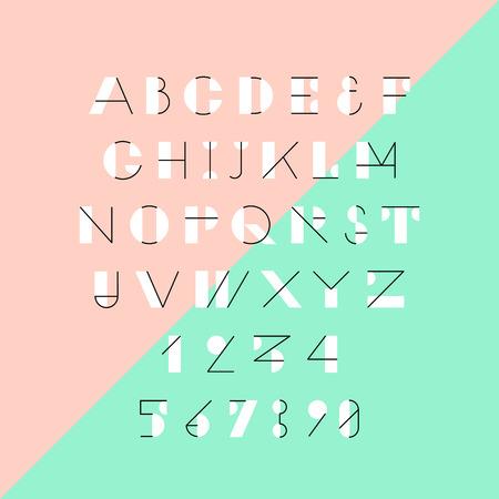 Modern trendy geometric font.