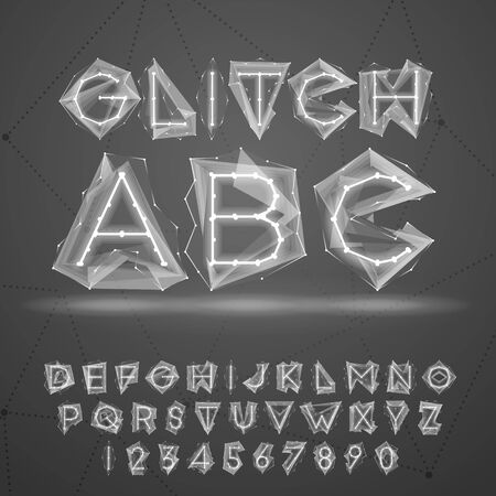 Glow laag poly glitch lettertype.
