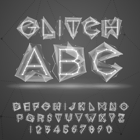 3d alphabet letter abc: Glow low poly glitch font. Illustration