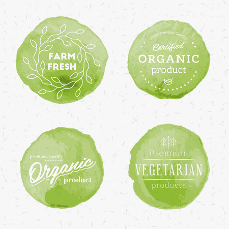 grunge border: organic products watercolor badges set. High quality design elements.