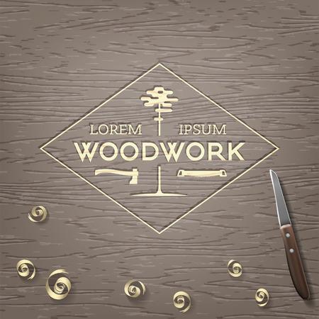 woodstock: Trendy vintage woodwork icon. Illustration
