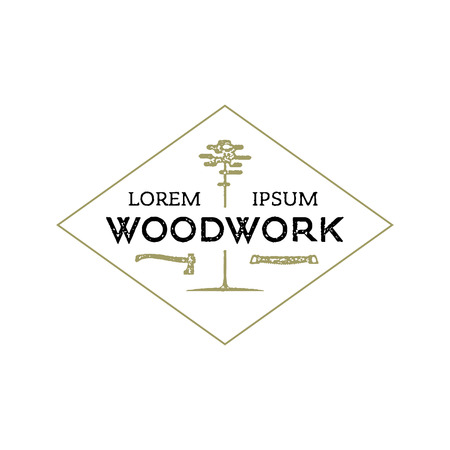 Trendy vintage woodwork icon. Letterpress look. Иллюстрация