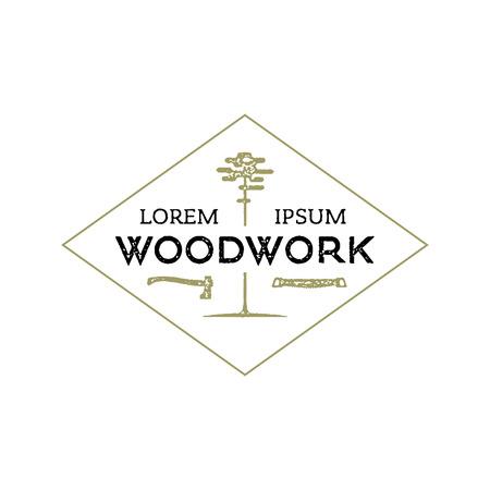 woodwork: Trendy vintage woodwork icon. Letterpress look. Illustration