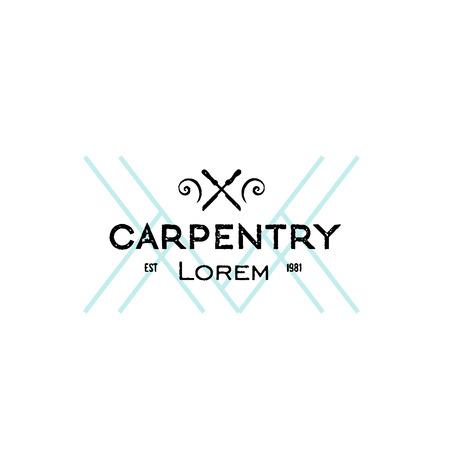 Trendy vintage carpentry icon. Letterpress look. Иллюстрация