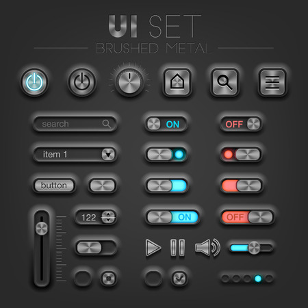 brushed metal dark UI set. High quality design elements Stock Illustratie