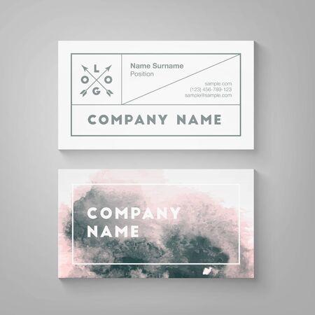 Trendy watercolor business card template. High quality design element Иллюстрация