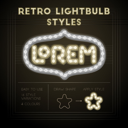stile: Insieme di stili retrò lampadina. Elemento di design di alta qualità.