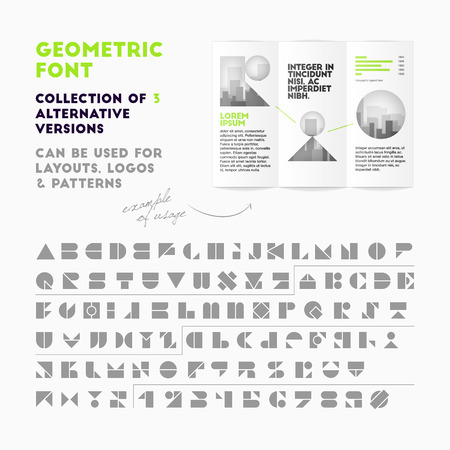 geometric font collection of 3 alternative versions. High quality design element
