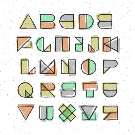 papier a lettre: géométrique police de style d'impression offset. Élément de design de haute qualité.
