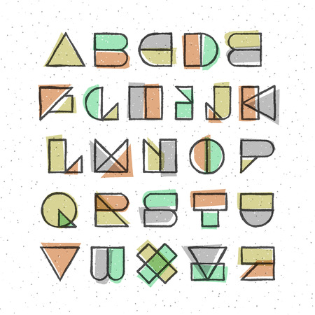 geometric offset printing style font. High quality design element.