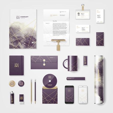 clean background: Trendy watercolor cross processing corporate identity template.