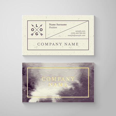 set design: Trendy watercolor cross processing business card template. High quality design element