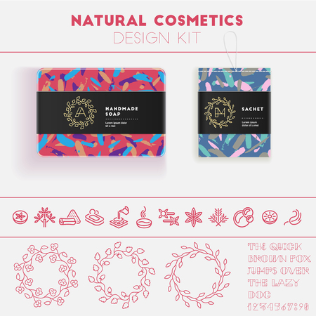 Natural cosmetics design kit with seamless pattern and logo templates. Иллюстрация