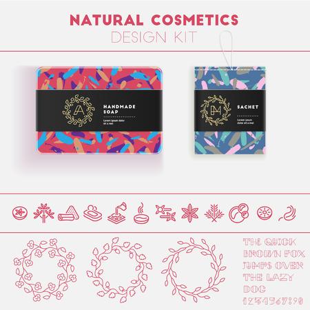 Natuurlijke cosmetica design kit met naadloze patroon en logo templates.