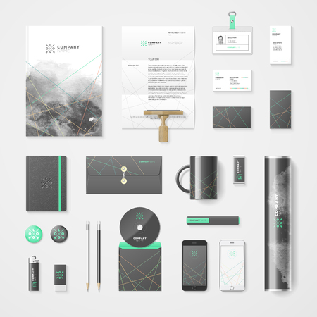 Vector modern corporate identity template for real estate or travel agency