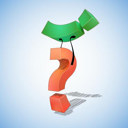 point exclamation: Question vaincu r�ponse. Question mark vaincu point d'exclamation.