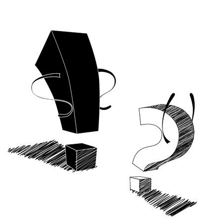 compromise: El signo de exclamaci�n y de interrogaci�n est�n discutiendo entre s�.