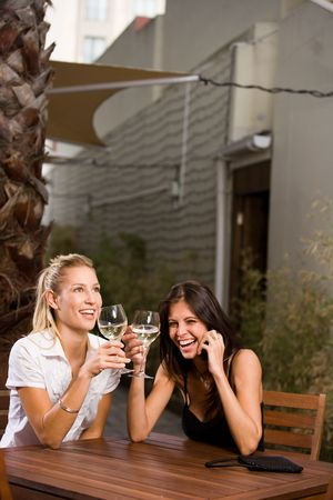 two  females drinking wine photo