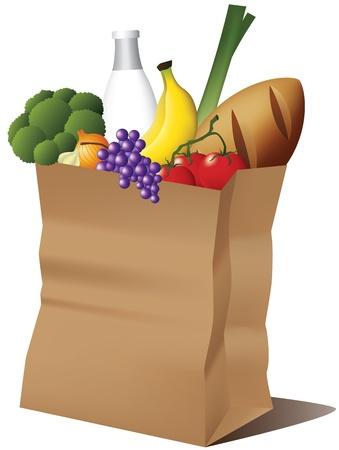 食料品店の紙袋  イラスト・ベクター素材