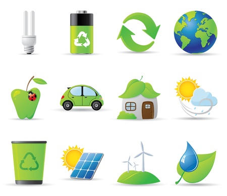 12 environment related vector illustrations Vector